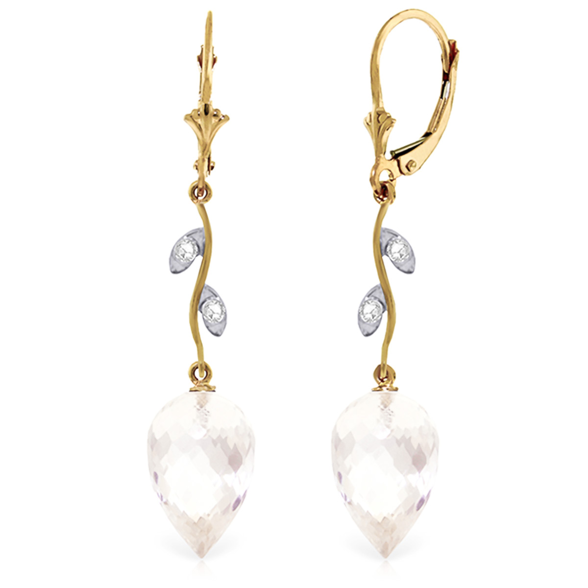 White Topaz Drop Earrings 24.52 ctw in 9ct Gold
