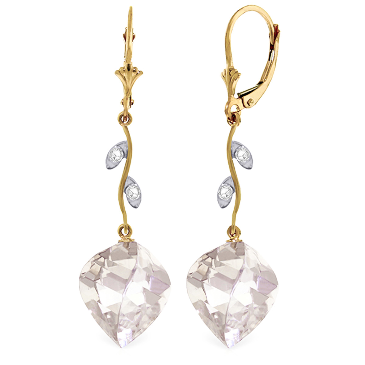 White Topaz Drop Earrings 25.62 ctw in 9ct Gold