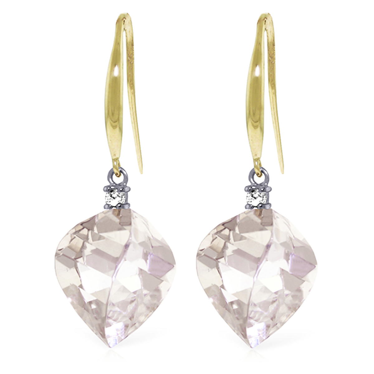 White Topaz Drop Earrings 25.7 ctw in 9ct Gold