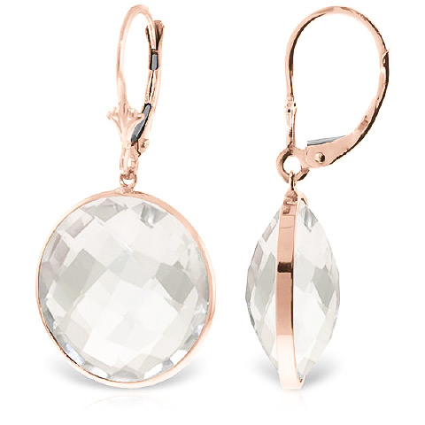 White Topaz Drop Earrings 36 ctw in 9ct Rose Gold