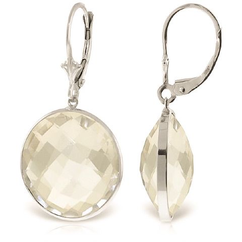 White Topaz Drop Earrings 36 ctw in 9ct White Gold