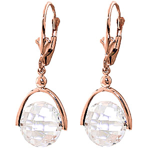 White Topaz Drop Earrings 7.5 ctw in 9ct Rose Gold
