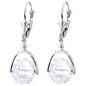 White Topaz Drop Earrings 7.5 ctw in 9ct White Gold