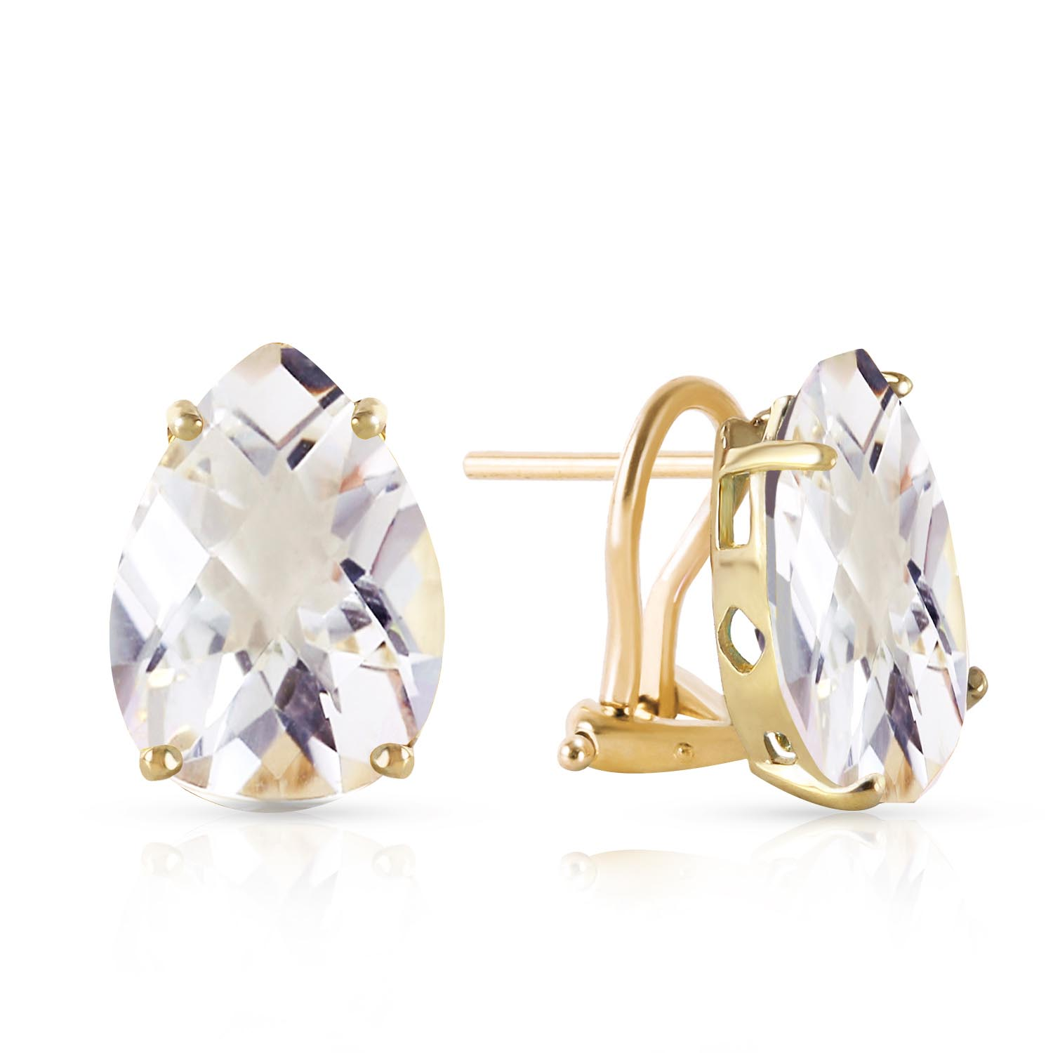 White Topaz Droplet Stud Earrings 10 ctw in 9ct Gold