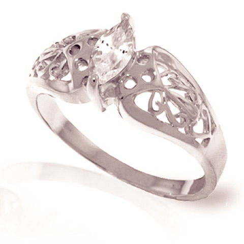 White Topaz Filigree Ring 0.2 ct in 9ct White Gold