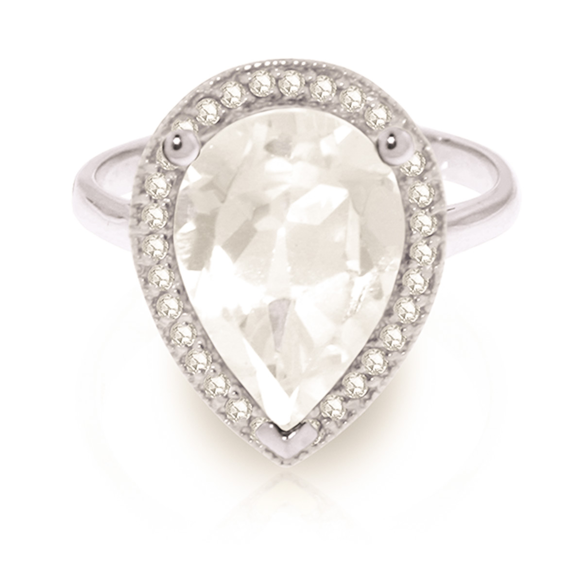 White Topaz Halo Ring 5.61 ctw in 9ct White Gold