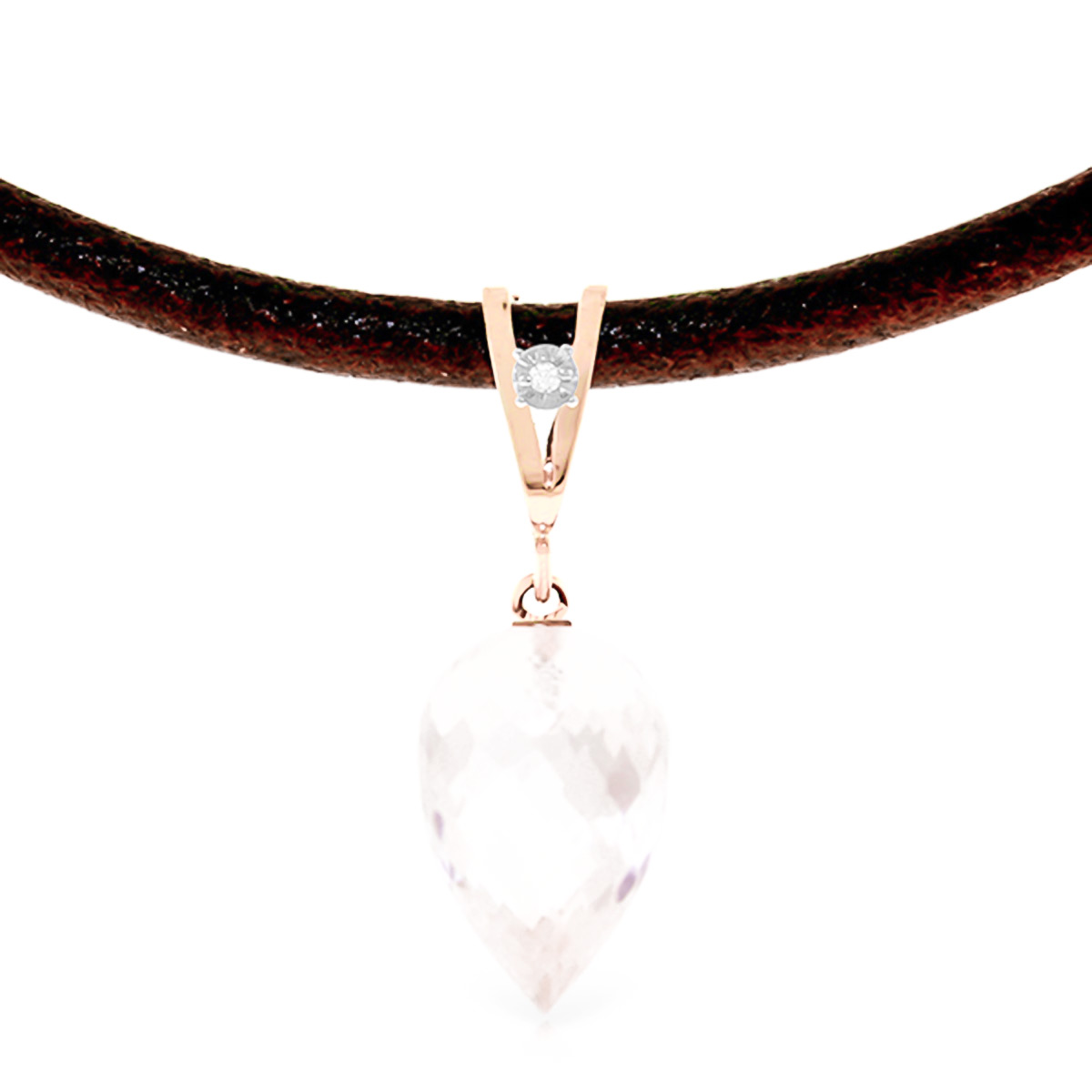Women's Jewellery White Topaz Leather Pendant Necklace 12.26 ctw in 9ct Rose Gold