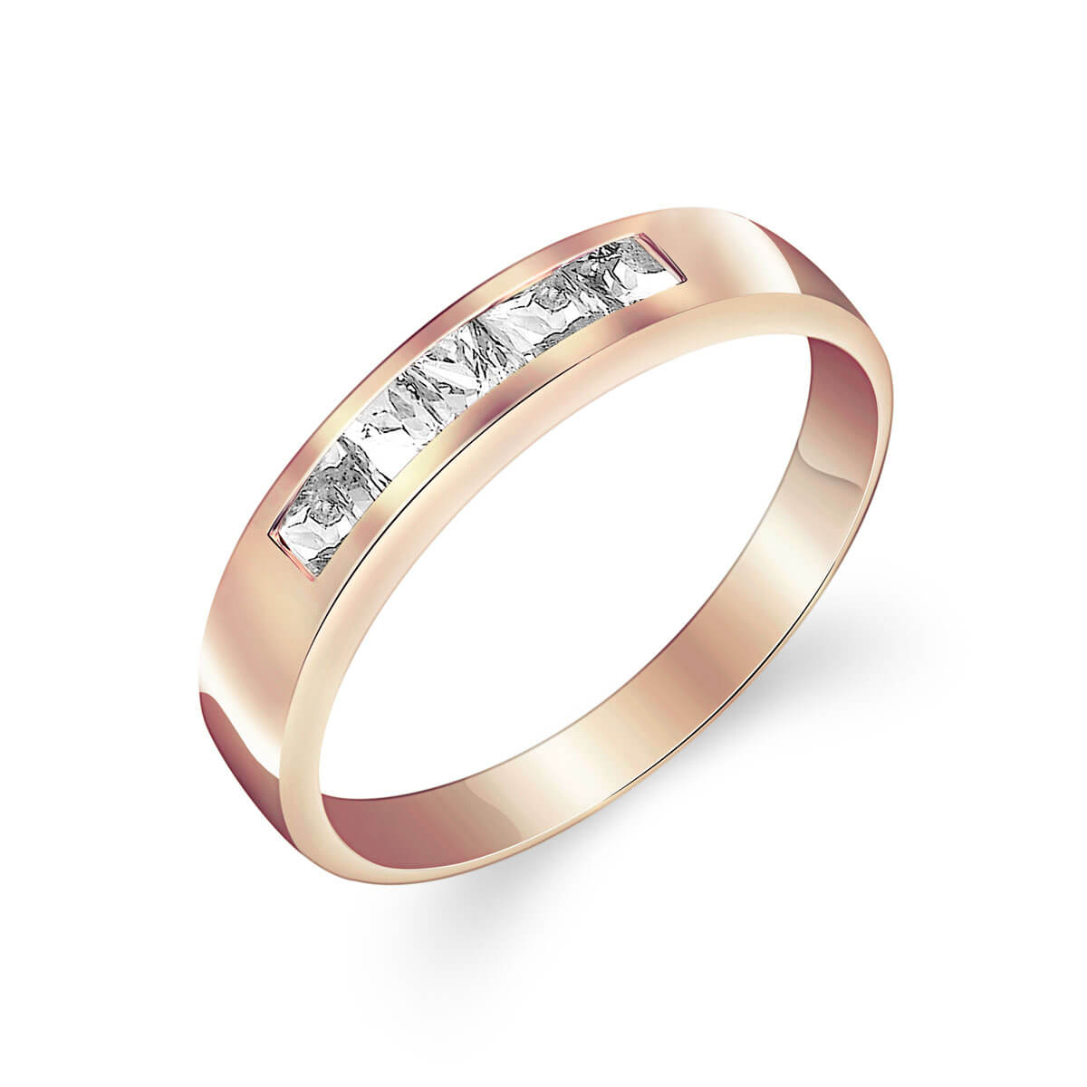 White Topaz Princess Prestige Ring in 9ct Rose Gold