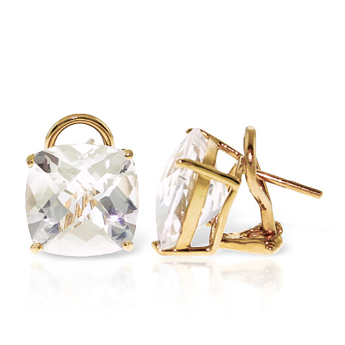 White Topaz Stud Earrings 7.2 ctw in 9ct Gold