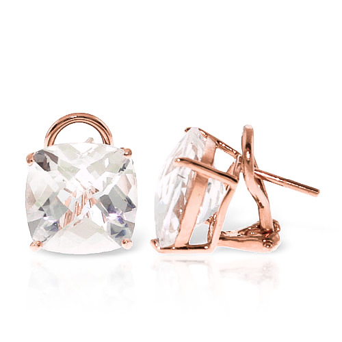 White Topaz Stud Earrings 7.2 ctw in 9ct Rose Gold