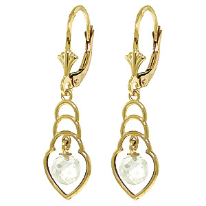 White Topaz Wireframe Drop Earrings 1.25 ctw in 9ct Gold