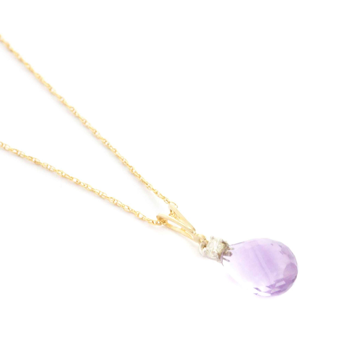 Amethyst & Diamond Beret Pendant Necklace in 9ct Gold
