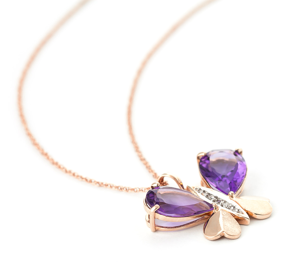Amethyst & Diamond Butterfly Pendant Necklace in 9ct Rose Gold