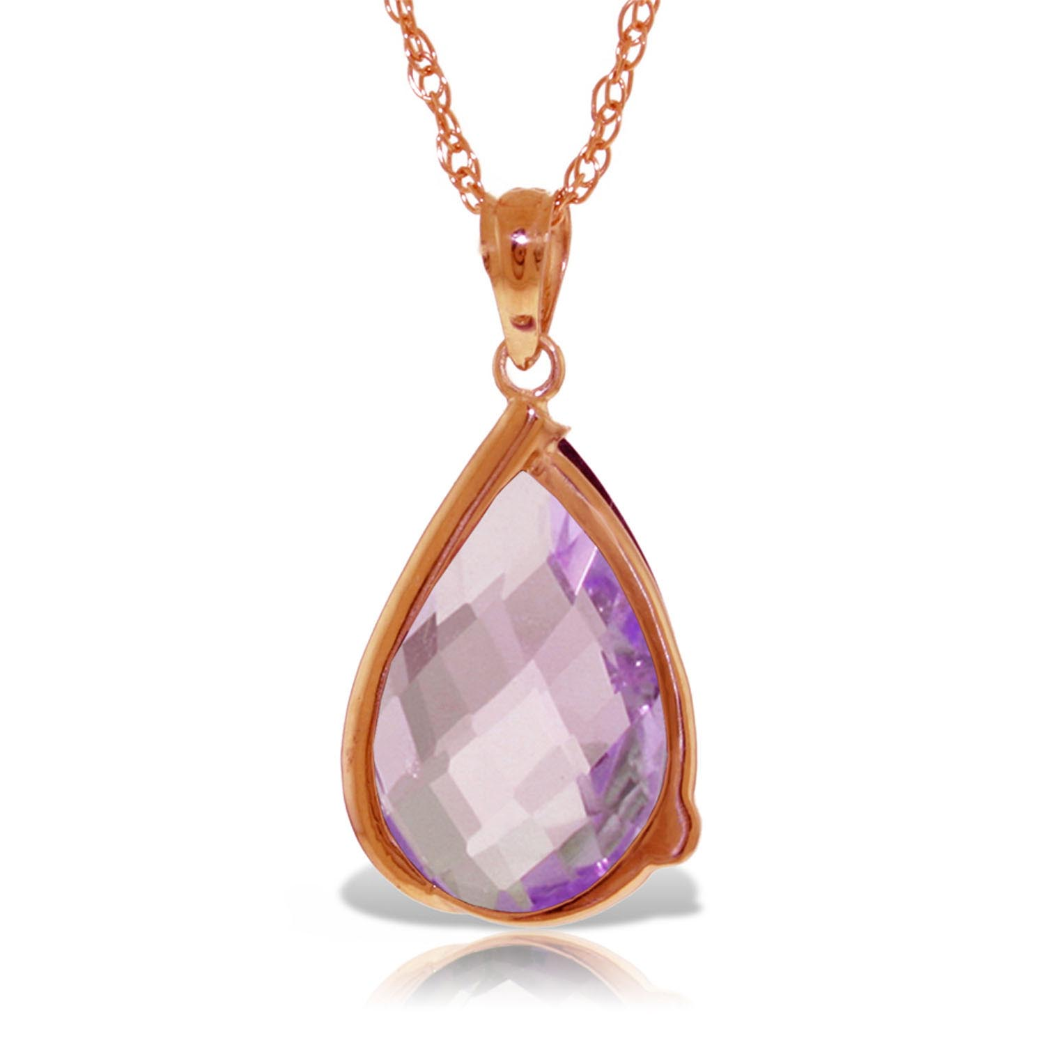 Amethyst & Diamond Chequer Pendant Necklace in 9ct Rose Gold