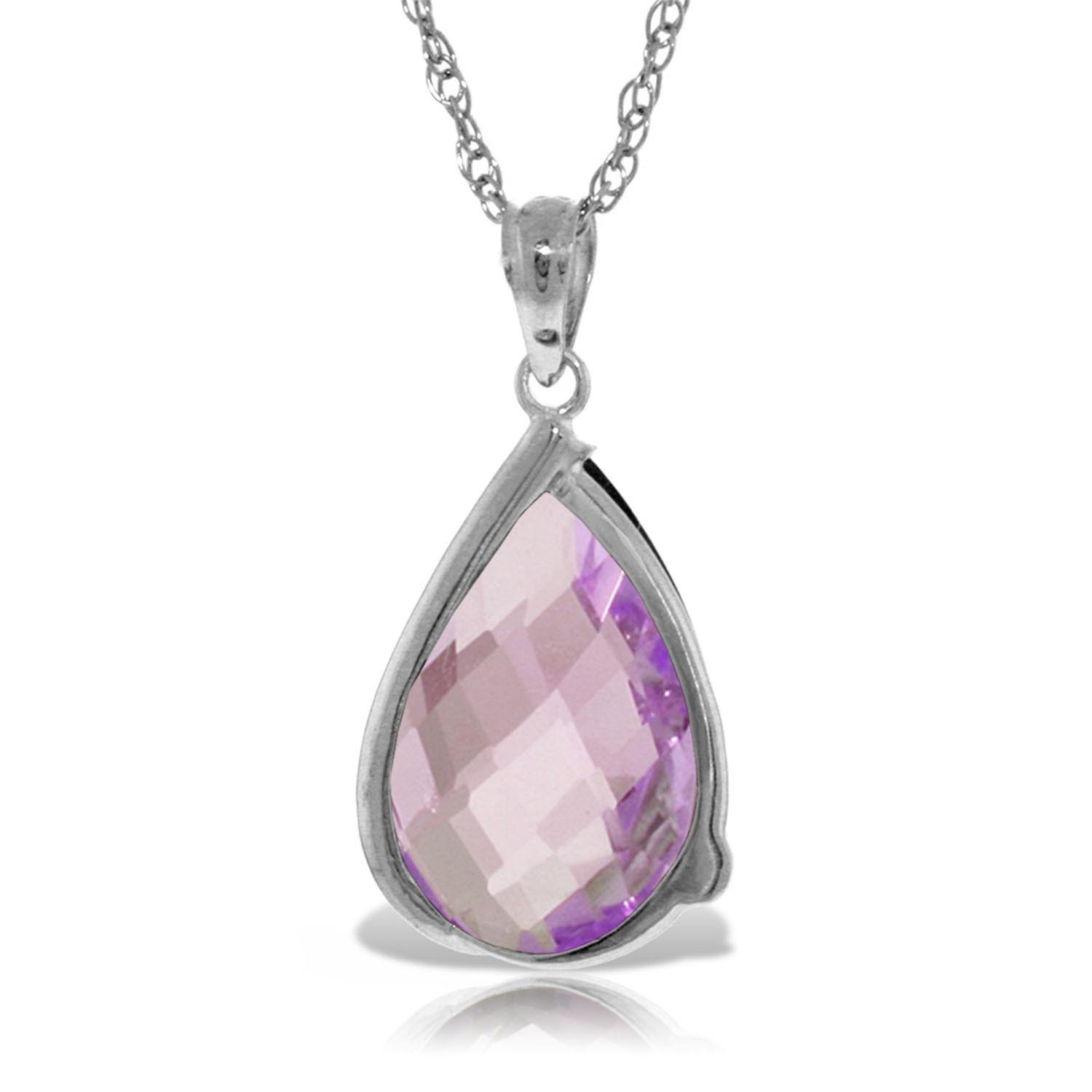 Amethyst & Diamond Chequer Pendant Necklace in 9ct White Gold