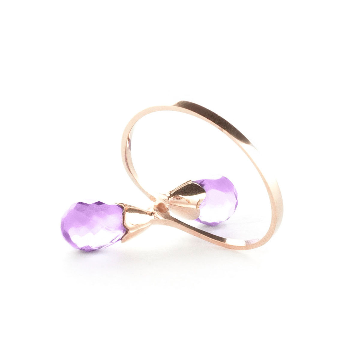Amethyst & Diamond Duo Ring in 9ct Rose Gold