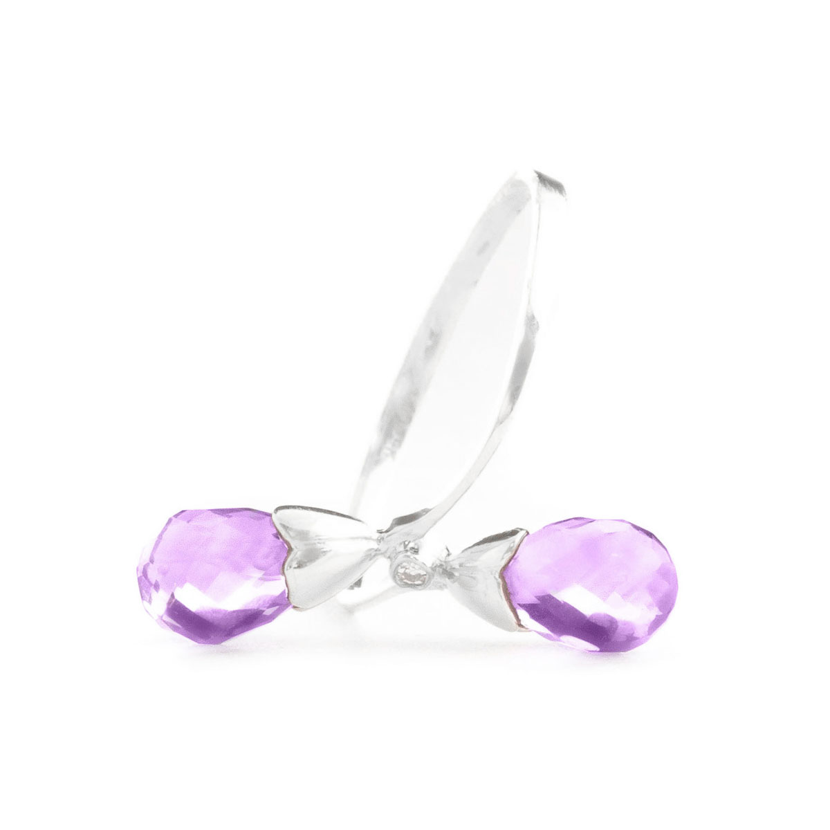 Amethyst & Diamond Duo Ring in 9ct White Gold
