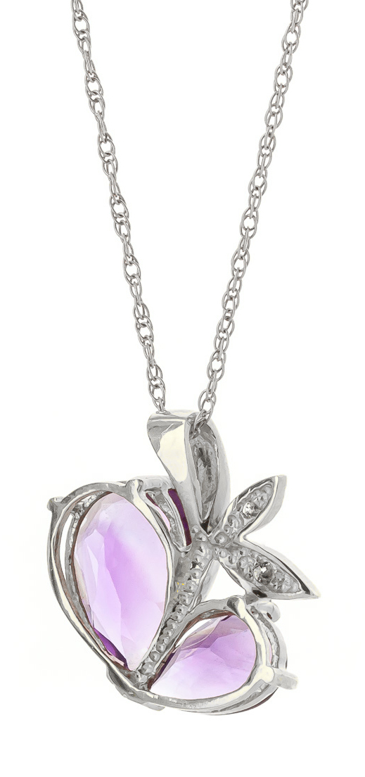 Amethyst & Diamond Eternal Pendant Necklace in 9ct White Gold