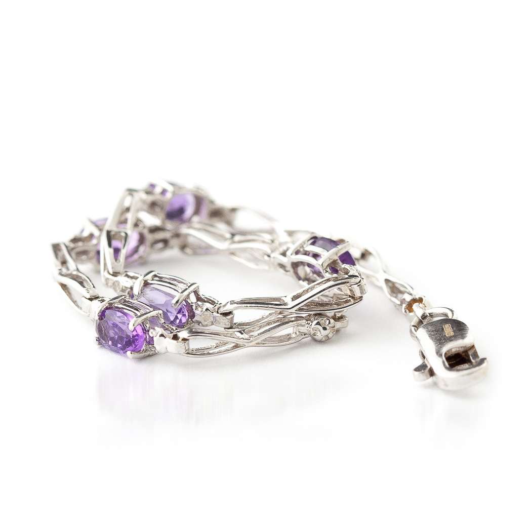 Amethyst & Diamond Evert Tennis Bracelet in 9ct White Gold