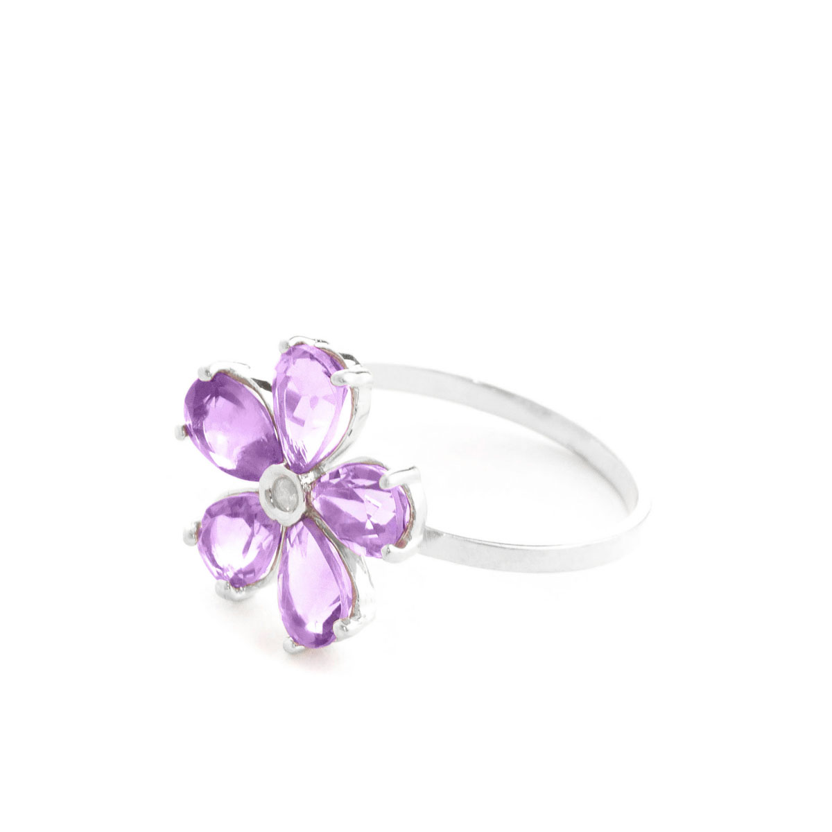 Amethyst & Diamond Five Petal Ring in 9ct White Gold
