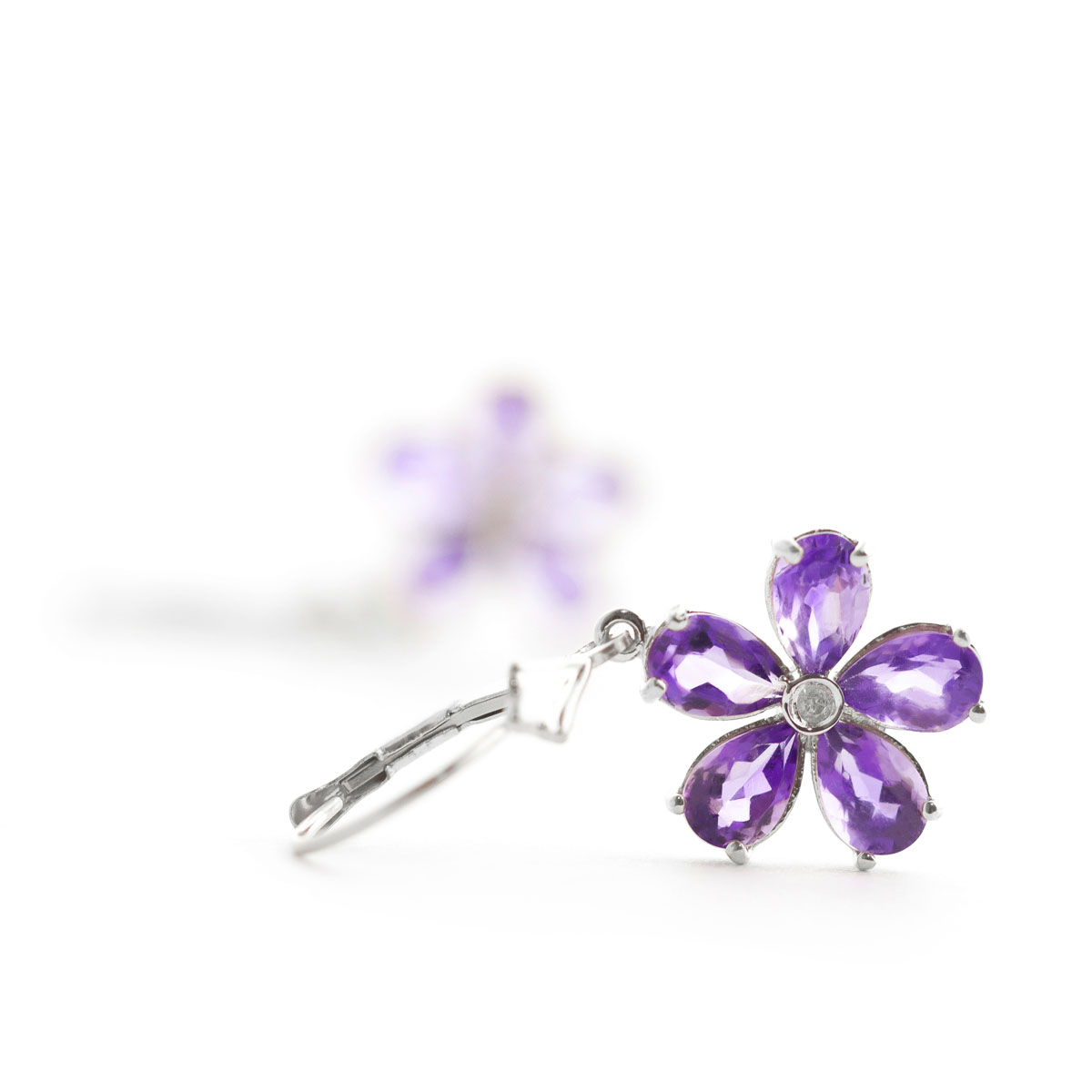 Amethyst & Diamond Flower Petal Drop Earrings in 9ct White Gold