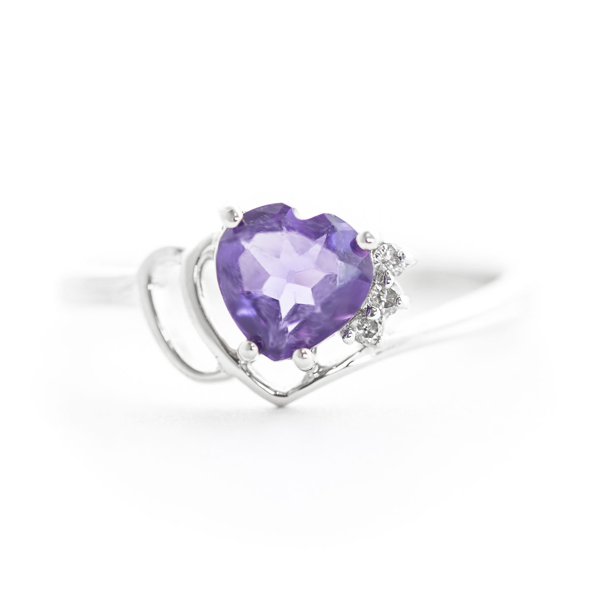 Amethyst & Diamond Passion Ring in 9ct White Gold