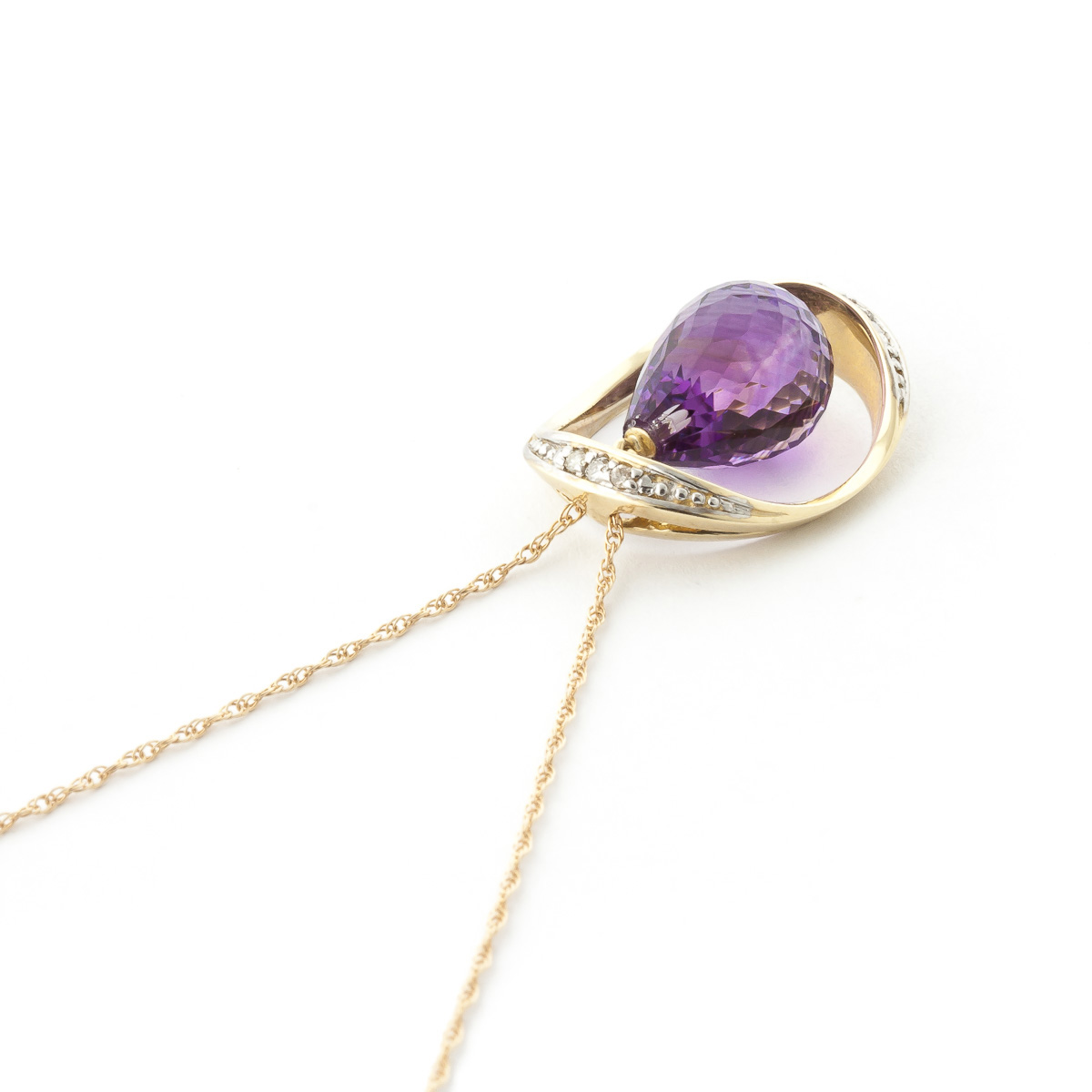 Amethyst & Diamond Pendant Necklace in 9ct Gold