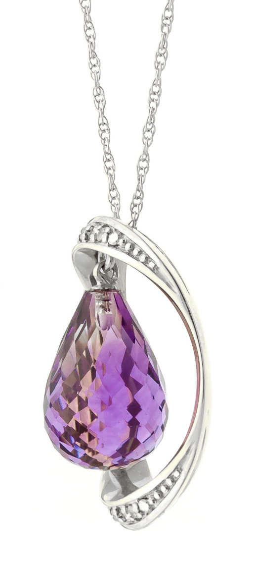 Amethyst & Diamond Pendant Necklace in 9ct White Gold