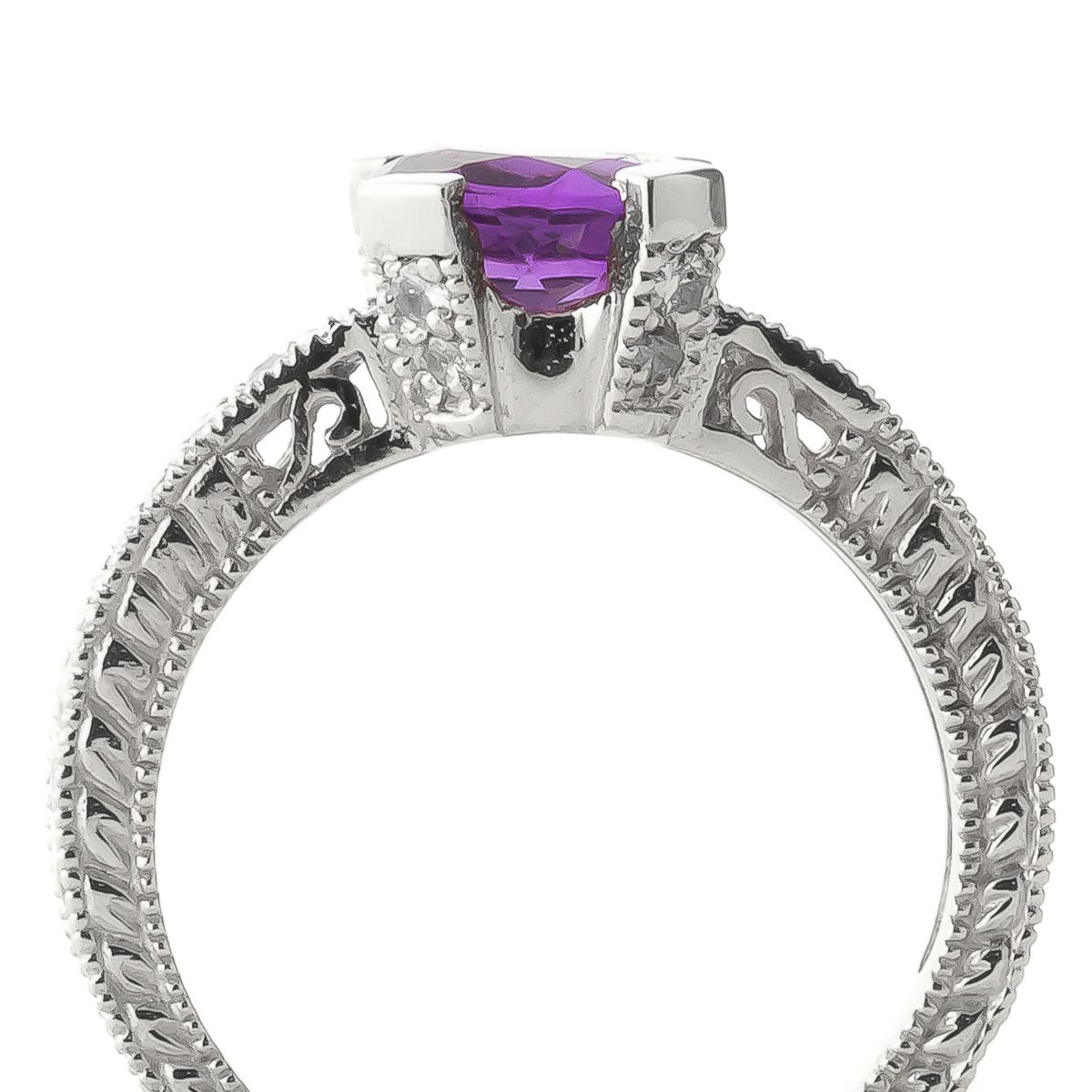Amethyst & Diamond Renaissance Ring in 9ct White Gold