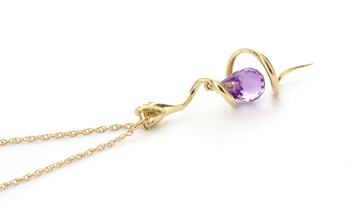 Amethyst & Diamond Serpent Pendant Necklace in 9ct Gold