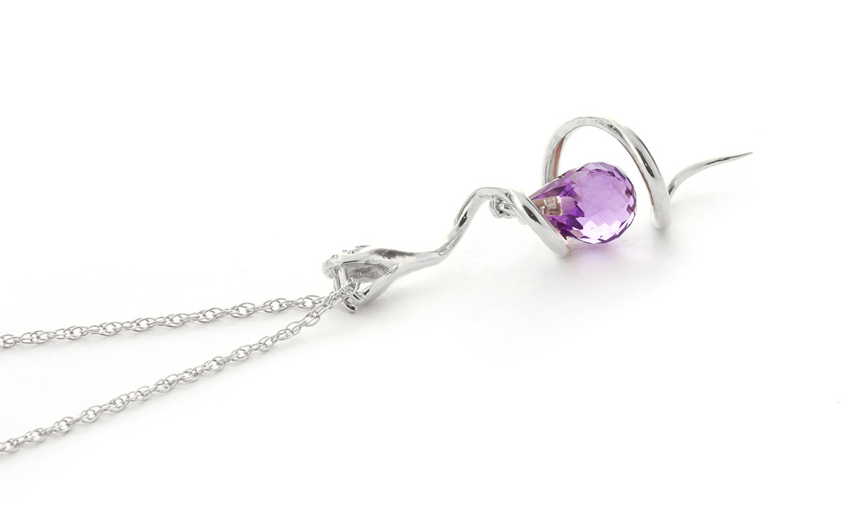 Amethyst & Diamond Serpent Pendant Necklace in 9ct White Gold