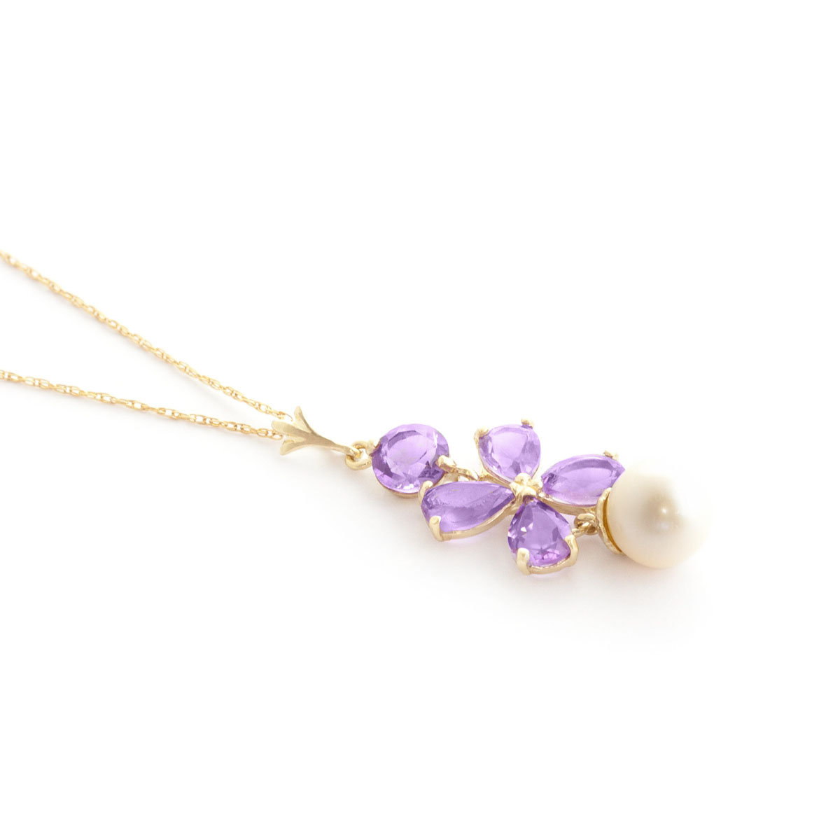 Amethyst & Pearl Blossom Pendant Necklace in 9ct Gold