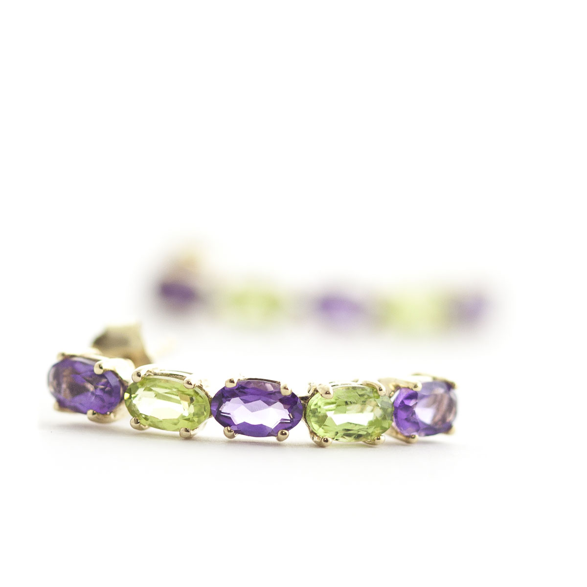 Amethyst & Peridot Linear Stud Earrings in 9ct Gold
