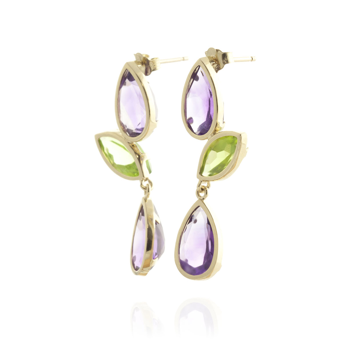 Amethyst & Peridot Petal Drop Earrings in 9ct Gold