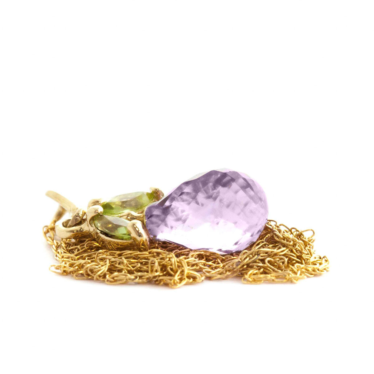 Amethyst & Peridot Snowdrop Pendant Necklace in 9ct Gold