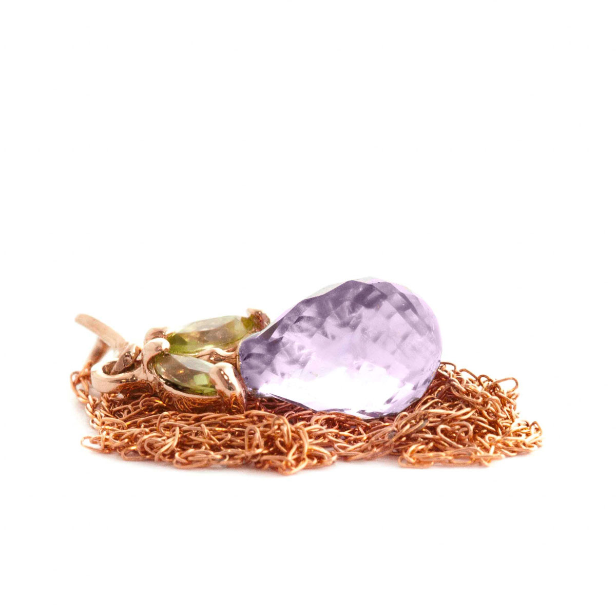 Amethyst & Peridot Snowdrop Pendant Necklace in 9ct Rose Gold