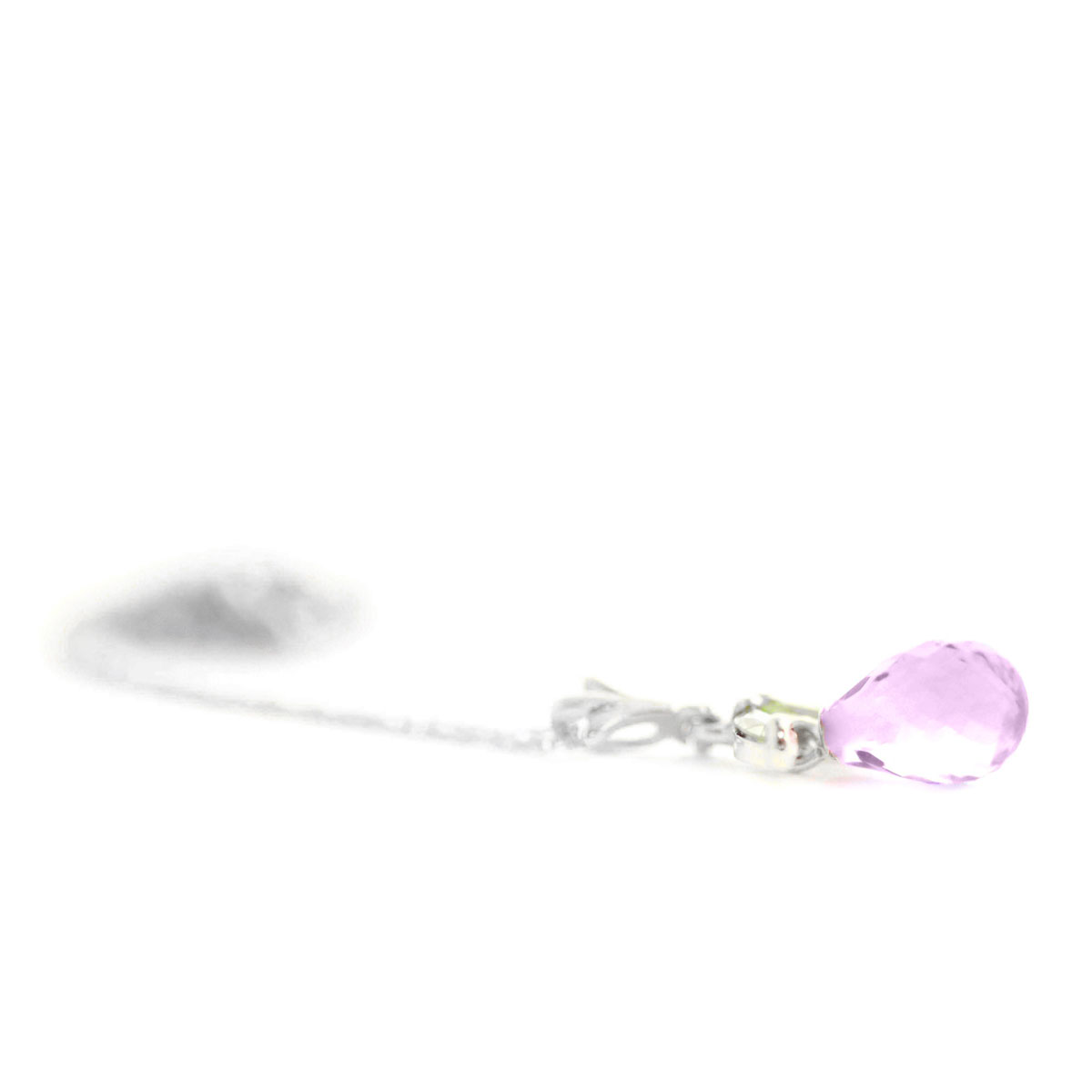 Amethyst & Peridot Snowdrop Pendant Necklace in 9ct White Gold