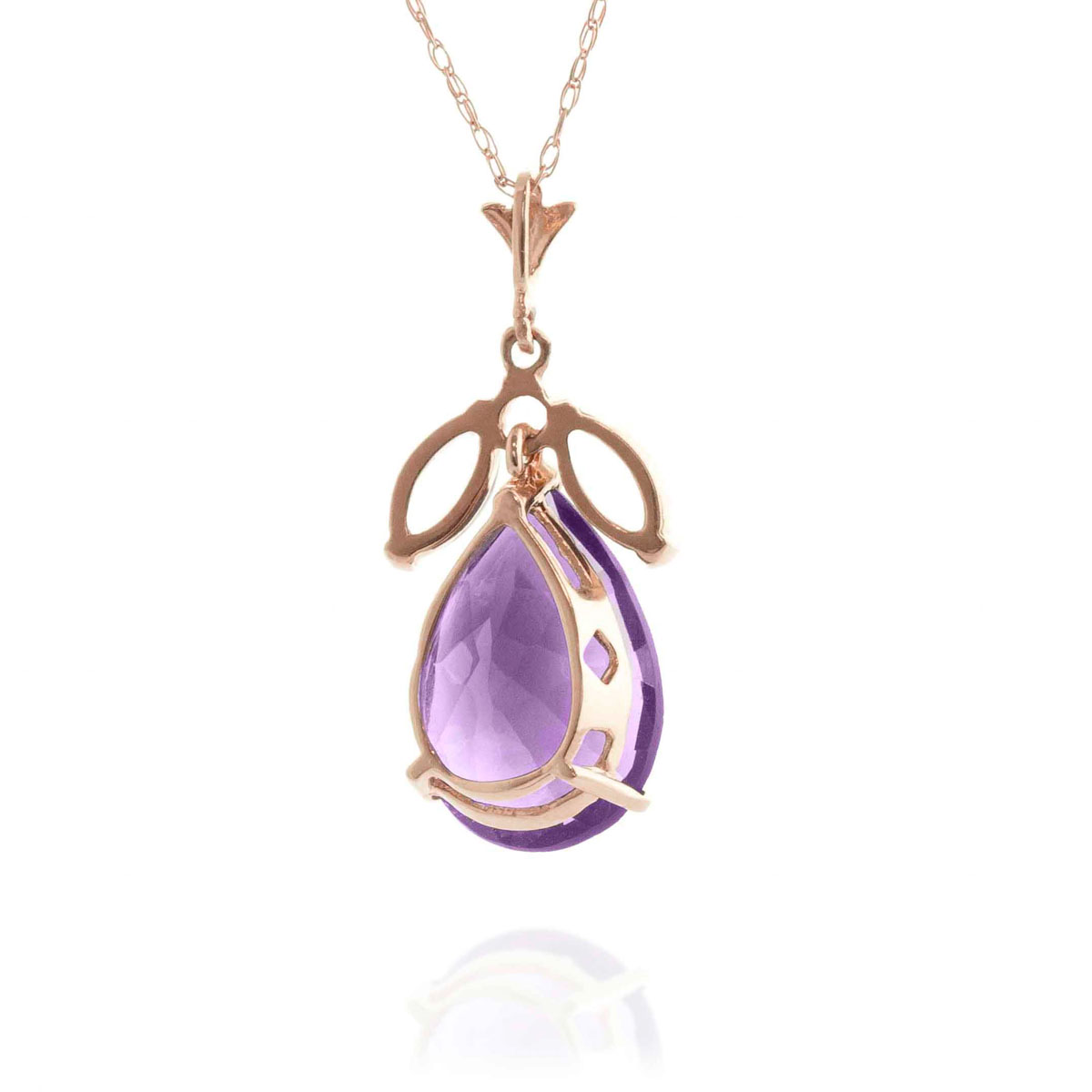 Amethyst & White Topaz Pear Drop Pendant Necklace in 9ct Rose Gold