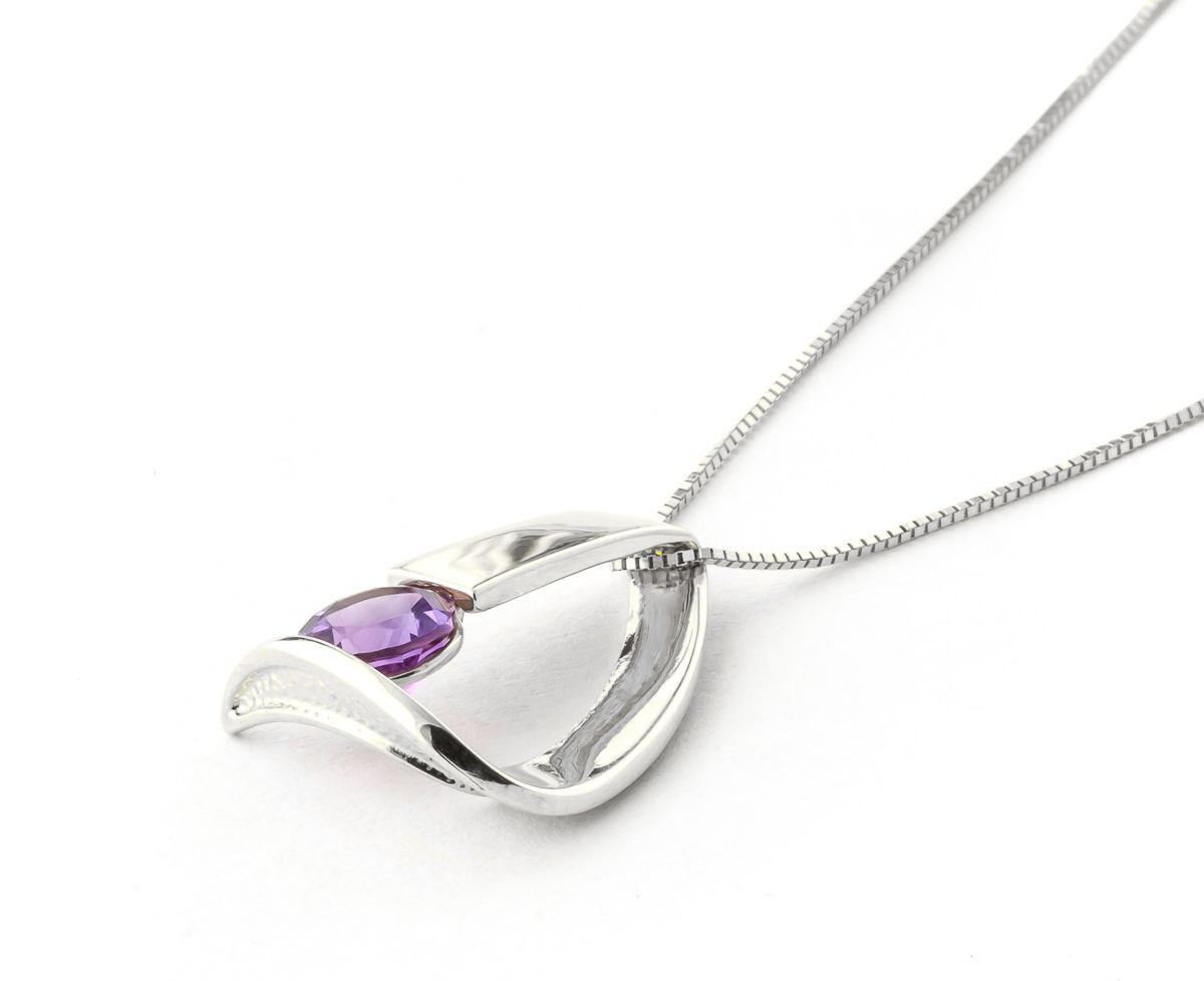 Amethyst Arc Pendant Necklace 1 ct in 9ct White Gold
