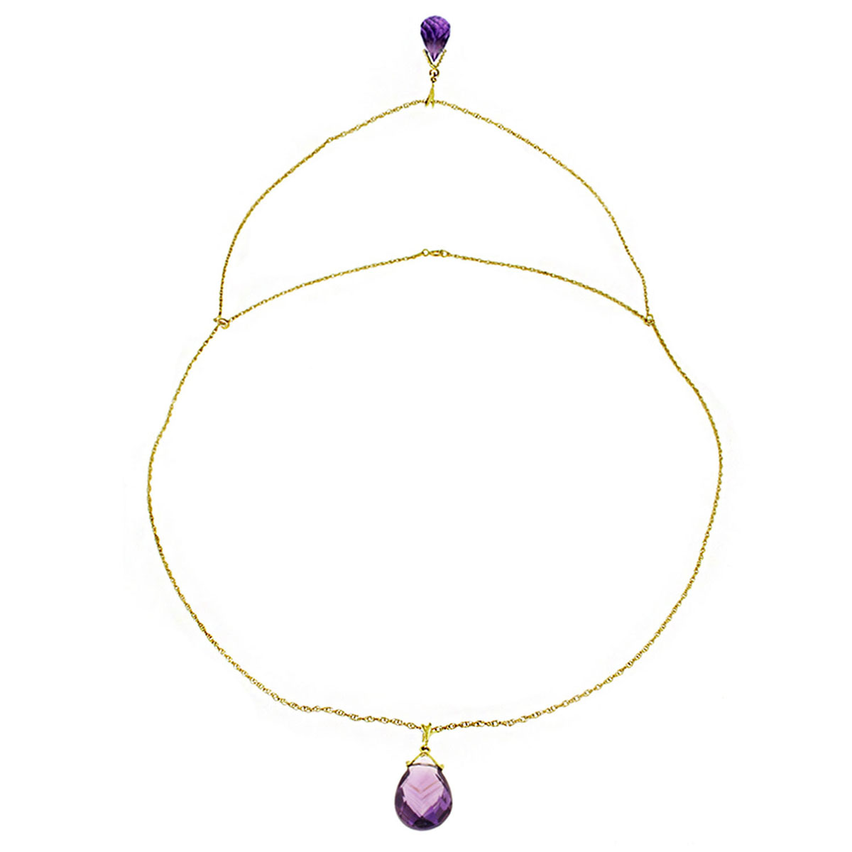 Amethyst Back Drop Pendant Necklace 7.5 ctw in 9ct Gold