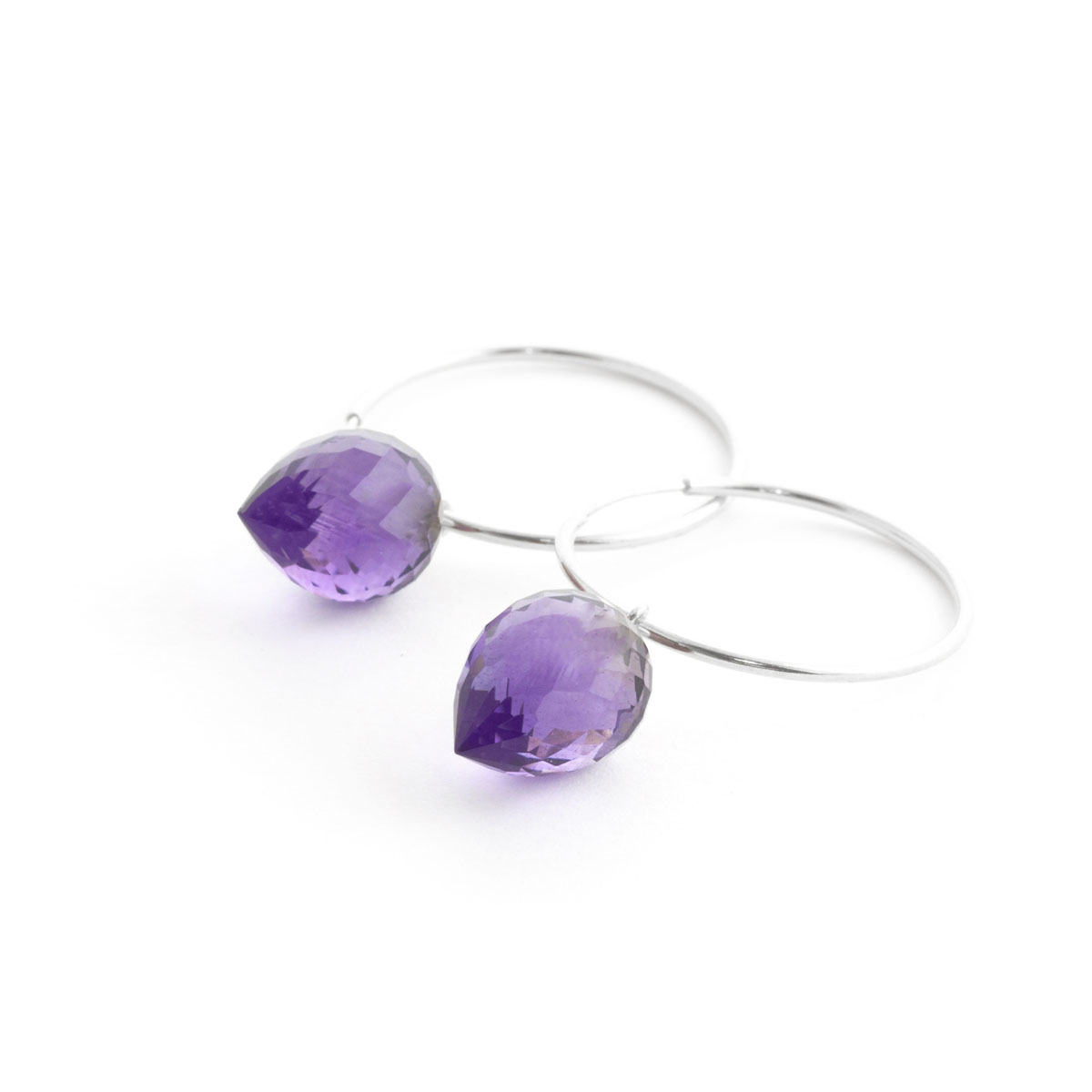 Amethyst Briolette Hoop Earrings 19 ctw in 9ct White Gold