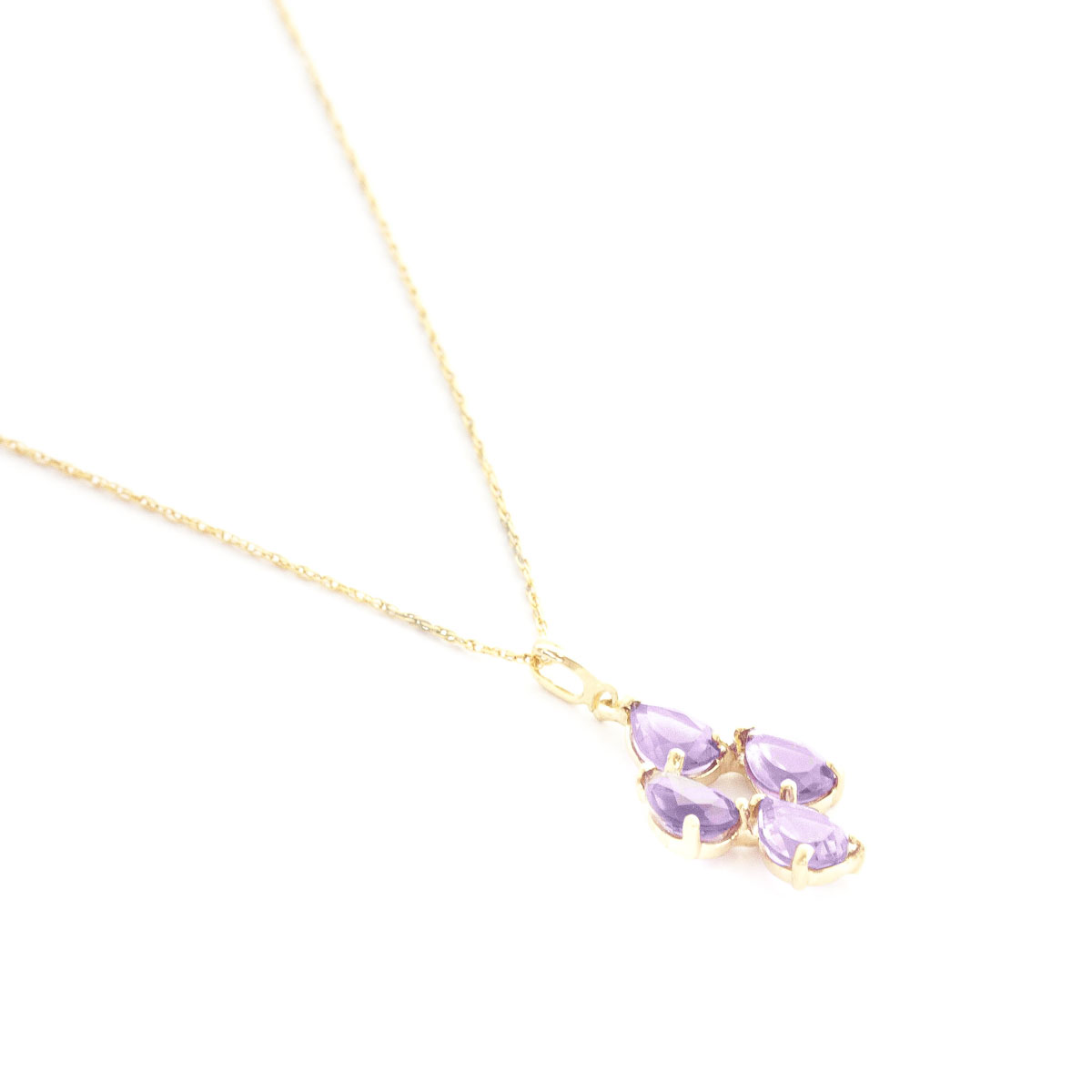 Amethyst Chandelier Pendant Necklace 1.5 ctw in 9ct Gold