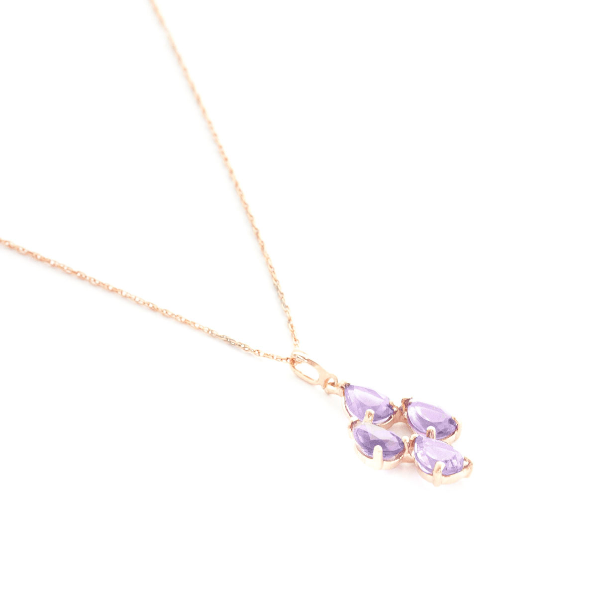 Amethyst Chandelier Pendant Necklace 1.5 ctw in 9ct Rose Gold