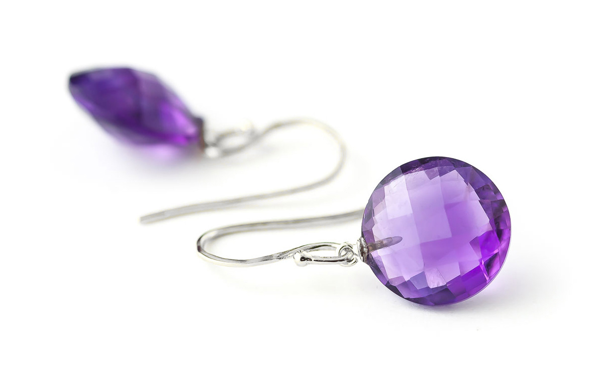 Amethyst Chequer Drop Earrings 12 ctw in 9ct White Gold