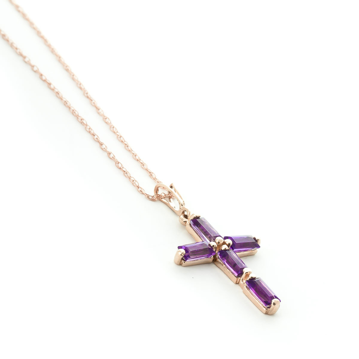 Amethyst Cross Pendant Necklace 1.15 ctw in 9ct Rose Gold