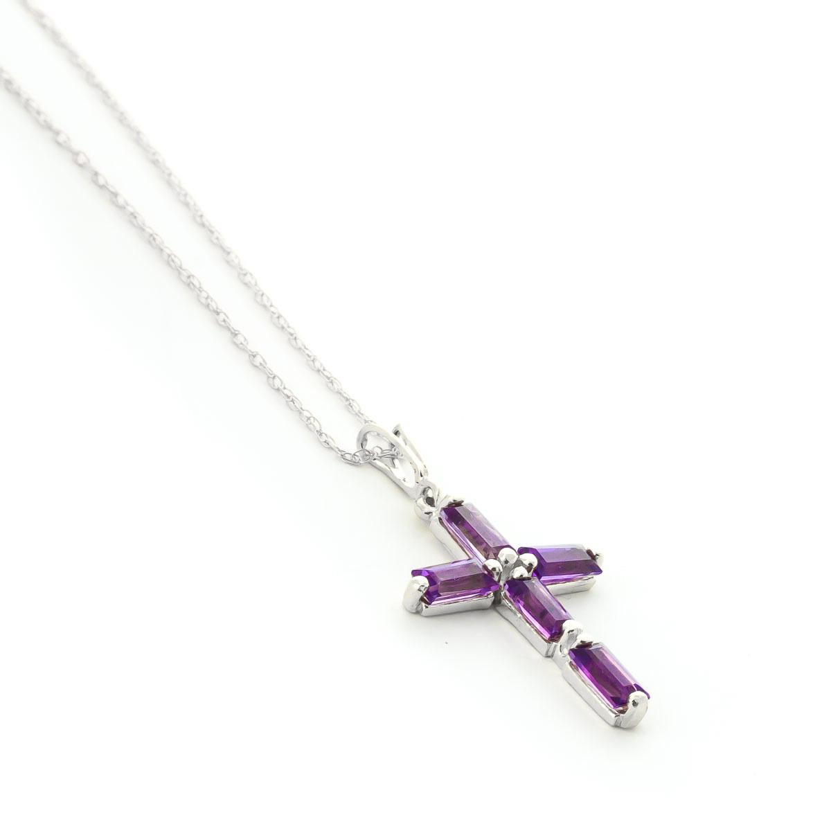 Amethyst Cross Pendant Necklace 1.15 ctw in 9ct White Gold