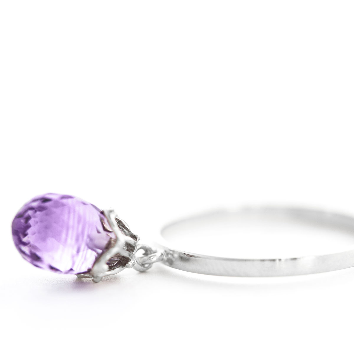 Amethyst Crown Ring 3 ct in 9ct White Gold