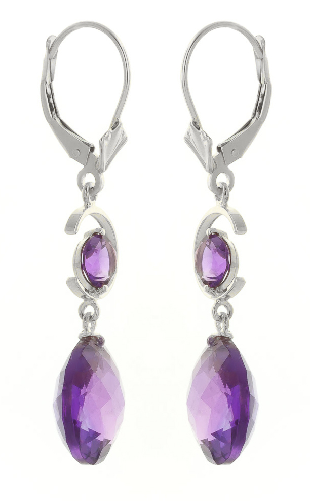 Amethyst Drop Earrings 11.6 ctw in 9ct White Gold