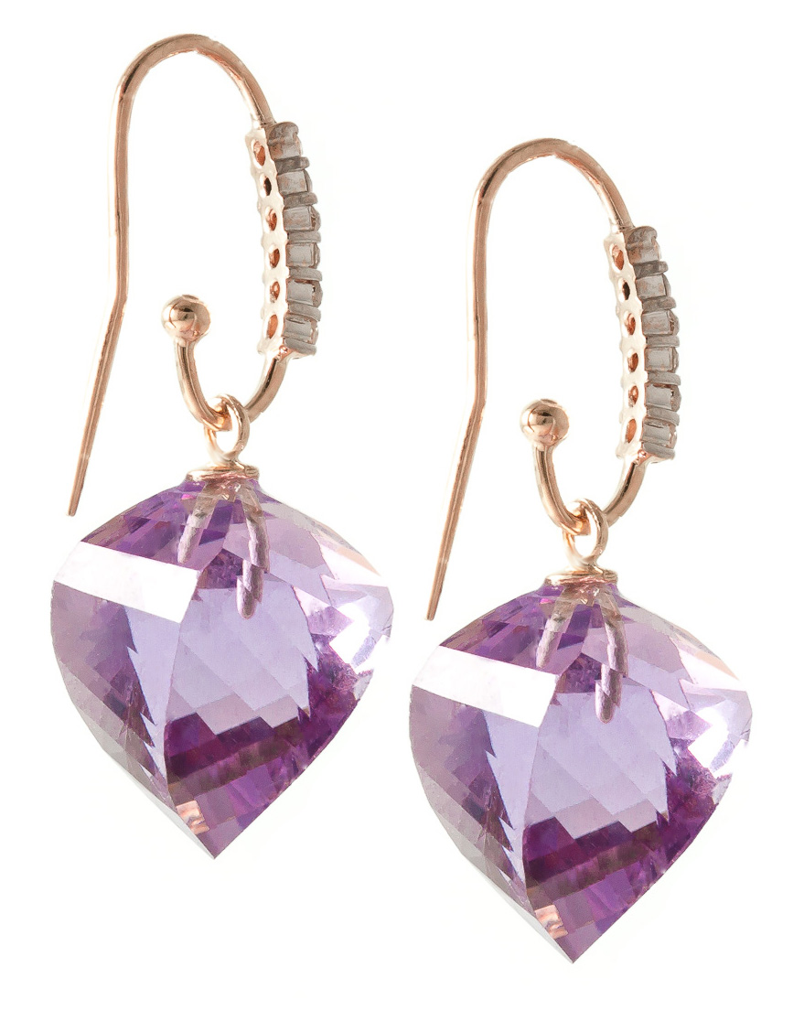 Amethyst Drop Earrings 21.68 ctw in 9ct Rose Gold
