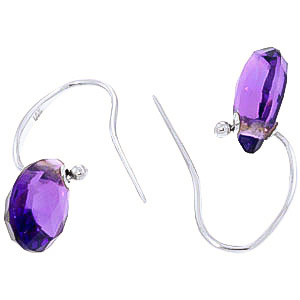 Amethyst Droplet Earrings 8 ctw in 9ct White Gold